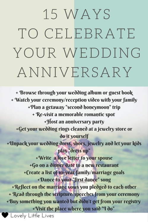 15 ways to celebrate your anniversary